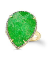 Anne Sisteron - Green 14kt Yellow Gold Jade Diamond Pear Shape Cocktail Ring - Lyst