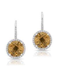 Anne Sisteron - Metallic 14kt White Gold Citrine Diamond Wireback Earrings - Lyst