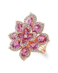 Anne Sisteron - 18kt Rose Gold Pink Sapphire Diamond Lotus Ring - Lyst