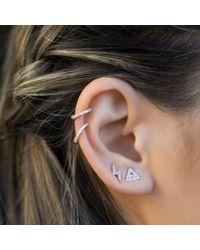 Anne Sisteron - Metallic 14kt Rose Gold White Topaz Triangle Diamond Stud Earrings - Lyst
