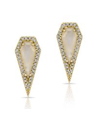 Anne Sisteron | Metallic 14kt Yellow Gold Moonstone Diamond Shield Earrings | Lyst