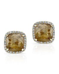 Anne Sisteron - Metallic 14kt Yellow Gold Diamond Slice Square Stud Earrings - Lyst