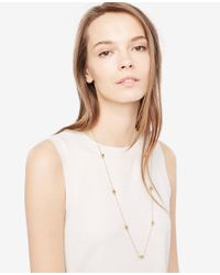 Ann Taylor - Metallic Pave Hammered Station Necklace - Lyst