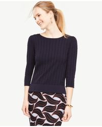 Ann Taylor | Blue Stitched Puff Sleeve Sweater | Lyst