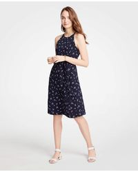 Ann Taylor - Blue Petite Halter Flare Dress - Lyst
