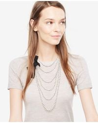 Ann Taylor - White Knotted Pearlized Tier Necklace - Lyst