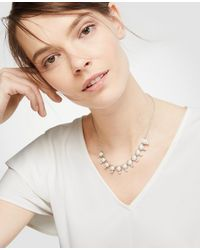 Ann Taylor - White Crystal Pearlized Slider Necklace - Lyst