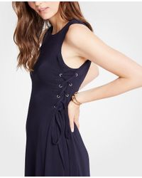 Ann Taylor - Blue Side Tie Knit Flare Dress - Lyst