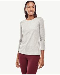 Ann Taylor | Gray Cotton Long Sleeve Tee | Lyst