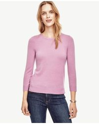Ann Taylor | Pink Cashmere 3/4 Sleeve Sweater | Lyst