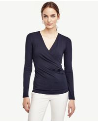 Ann Taylor | Blue Side Ruched Wrap Top | Lyst