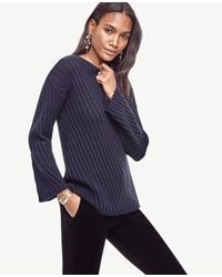 Ann Taylor   Blue Stitched Bell Sleeve Sweater   Lyst