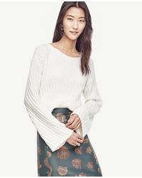 Ann Taylor | White Stitched Bell Sleeve Sweater | Lyst