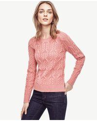 Ann Taylor | Pink Aran Crewneck Sweater | Lyst
