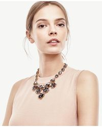 Ann Taylor | Black Crystal Statement Necklace | Lyst
