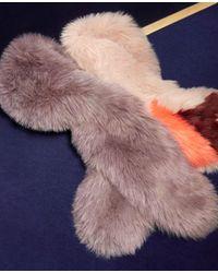 Ann Taylor - Blue Colorblock Furry Stole - Lyst