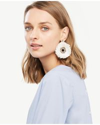 Ann Taylor - White Raffia Statement Earrings - Lyst