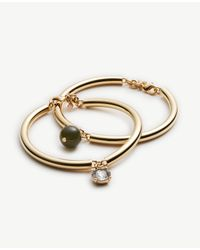 Ann Taylor | Metallic Crystal Charm Bangle Set | Lyst