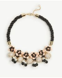 Ann Taylor - Black Rope Fireball Necklace - Lyst