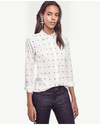 Ann Taylor | White Embroidered Dot Perfect Shirt | Lyst