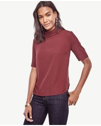 Ann Taylor | Red Mixed Media Mock Neck Top | Lyst