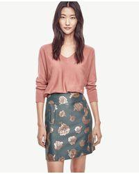Ann Taylor | Red Petite Merino Wool V-neck Sweater | Lyst