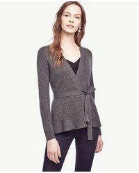 Ann Taylor | Gray Wool Cashmere Ribbed Peplum Cardigan | Lyst