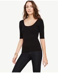 Ann Taylor | Black Ribbed Pima Cotton Half Sleeve Scoop Neck Tee | Lyst
