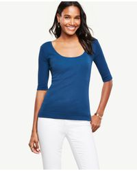Ann Taylor | Blue Ribbed Pima Cotton Half Sleeve Scoop Neck Tee | Lyst