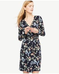 Ann Taylor | Blue Petite Wild Flower Wrap Dress | Lyst