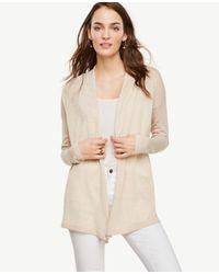 Ann Taylor | Natural Wool Blend Open Cardigan | Lyst