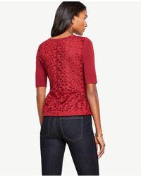 Ann Taylor | Petite Lace Back Shirred Peplum Sweater | Lyst