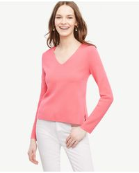 Ann Taylor | Pink V-neck Sweater | Lyst