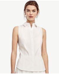 Ann Taylor   White Tall Sleeveless Perfect Shirt   Lyst