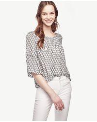 Ann Taylor | White Petite Dot Flounce Sleeve Top | Lyst