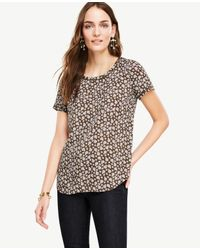 Ann Taylor | Multicolor Petite Floral Piped Tee | Lyst
