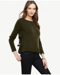 Ann Taylor | Green Wool Cashmere Side Tie Sweater | Lyst