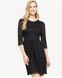 Ann Taylor | Black Geo Lace Flare Dress | Lyst