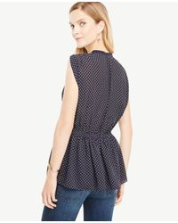 Ann Taylor | Blue Shirred Waist Dotted Top | Lyst