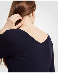 Ann Taylor - Blue Ribbed Wide V-neck Sweater - Lyst