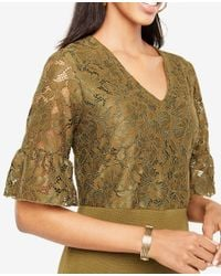 Ann Taylor - Multicolor Petite Lace Ruffle Cuff Sweater Dress - Lyst