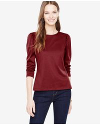 Ann Taylor - Red Puff Sleeve Top - Lyst