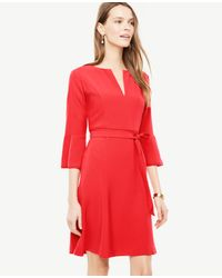 Ann Taylor | Red Fluted Sleeve Flare Dress | Lyst