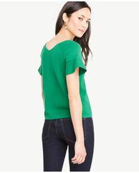 Ann Taylor Green Ruffle Sleeve Double V Sweater