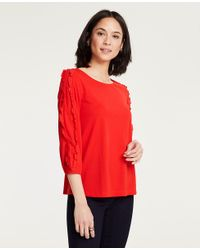 Ann Taylor - Red Ruffled 3/4 Sleeve Top - Lyst