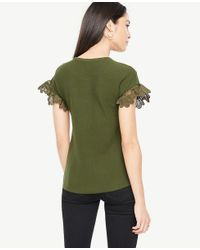 Ann Taylor - Green Floral Lace Yoke Sweater - Lyst