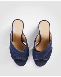 Ann Taylor - Blue Jeanette Denim Heeled Mule Sandals - Lyst