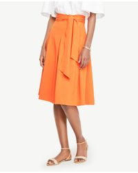 Ann Taylor - Orange Belted Full Skirt - Lyst