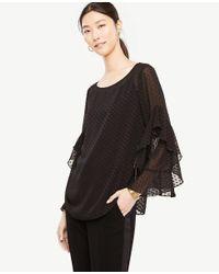 Ann Taylor - Black Dot Chiffon Cascade Ruffle Sleeve Blouse - Lyst