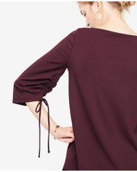 Ann Taylor - Purple Square Neck Ruched Sleeve Top - Lyst